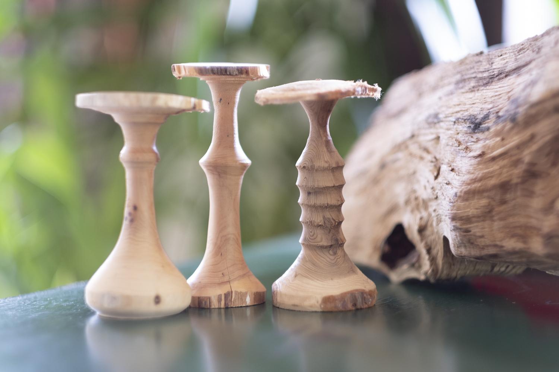 champignons en bois tourné